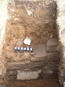 A set of stone steps revealed during an archaeological dig.