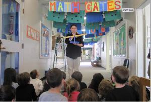 Students perform an art-math activity in the hallway of Mount Vernon Elementary School.