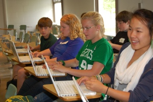 Students learn about garageband in a breakout session