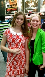 Waterville Junior High classmates Julia Bluhm (left) and Izzy Labbe traveled to New York City to protest Seventeen magazine's use of Photoshop to adjust models' appearances.