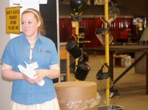 Bridge Year student Taylor Smith gives a tour of the United Technologies Center in Bangor.
