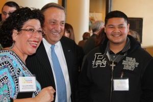 Teacher of the year semi-finalist Suzen Polk-Hoffses, kindergarten teacher at Milbridge Elementary School, with Governor LePage and Millbridge student Juan Castillo.
