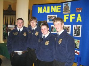 Maine FFA State Officers at their display in the State House Hall of Flags.