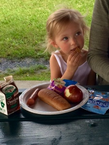 A young girl at the summer food program site