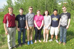 Maine FFA Blast Off Leadership Training Participants.   From left to right:  Rick Henningfeld, National FFA Trainer;  Clark Bradbury, Mars Hill FFA Vice President;  Jordan White, Maine FFA Secretary-Treasurer;  Dayna McCrum, Maine FFA President;  Isabelle Wright, Mars Hill FFA President;  Jason Gurley, Maine FFA Vice President;  Devin Grant, Presque Isle FFA President.