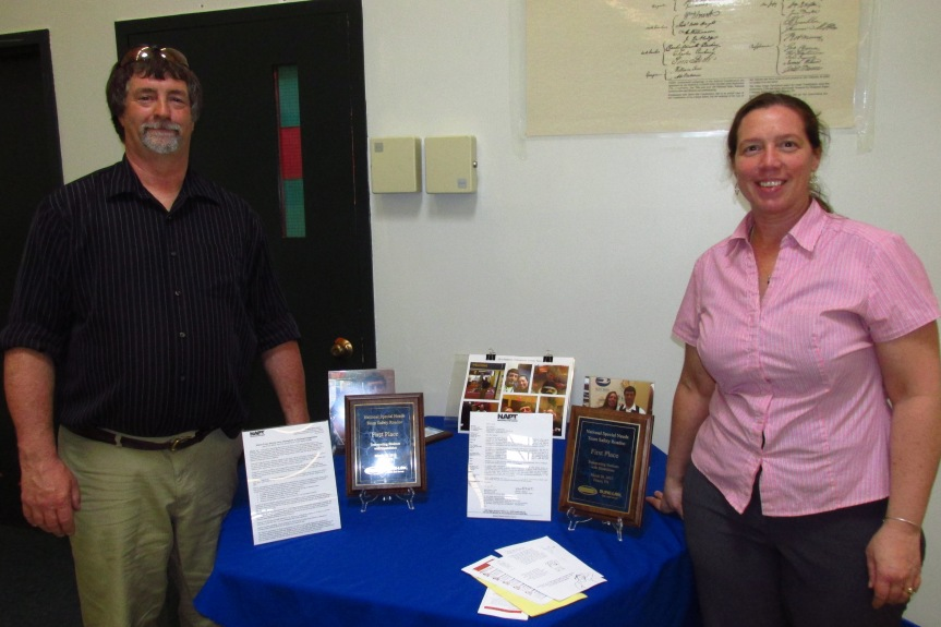Gregg McGoff and Lisa Gadway, national champions from Maine , were on hand to encourage competitors and discuss special needs transportation at the conference.