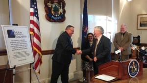 Gov. LePage celebrates partnership with retired UMFK President Wilson Hess