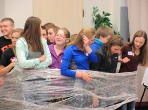 """Students compete in """"Wrapped"""" team race"""